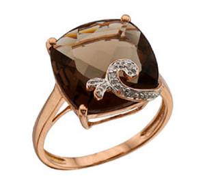 Раухтопаз в кольце коричневого цвета