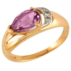 Кольцо с натуральным аметистом