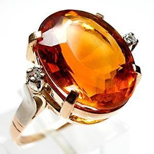 Перстень с натуральным цитрином
