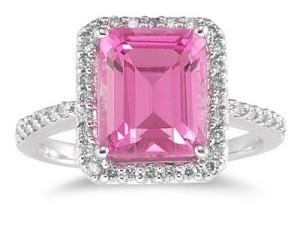 Кольцо с натуральным розовым топазом