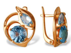 Серьги с голубым камнем в золотой оправе